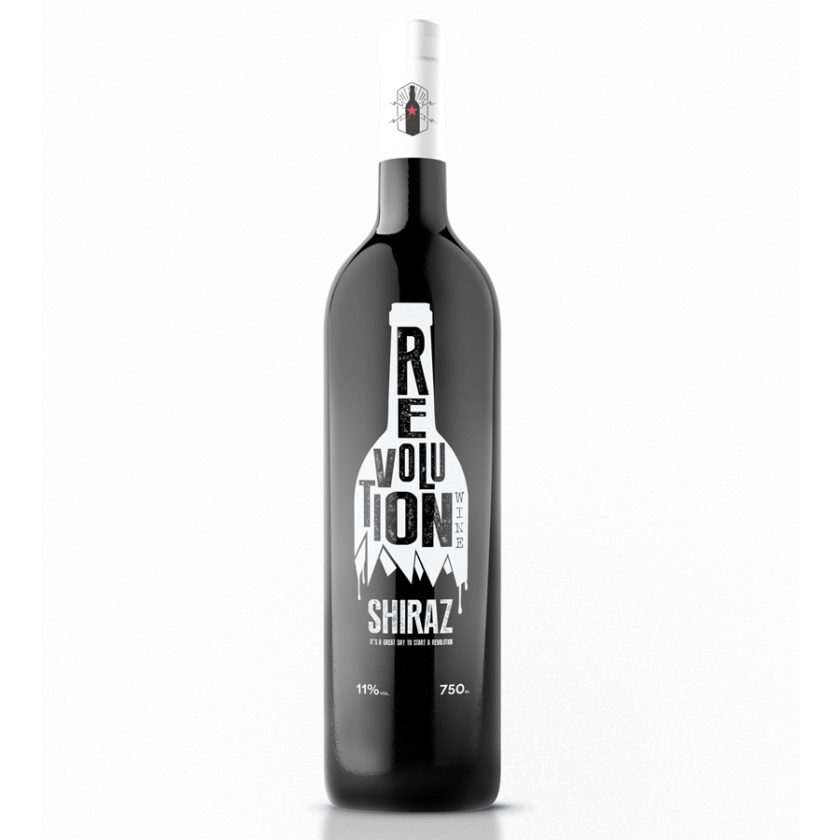 Revolution Wine Logo Design and Bottle Mockup