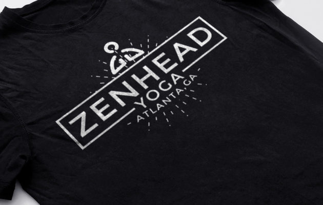 Zenhead yoga studio logo and black t-shirt