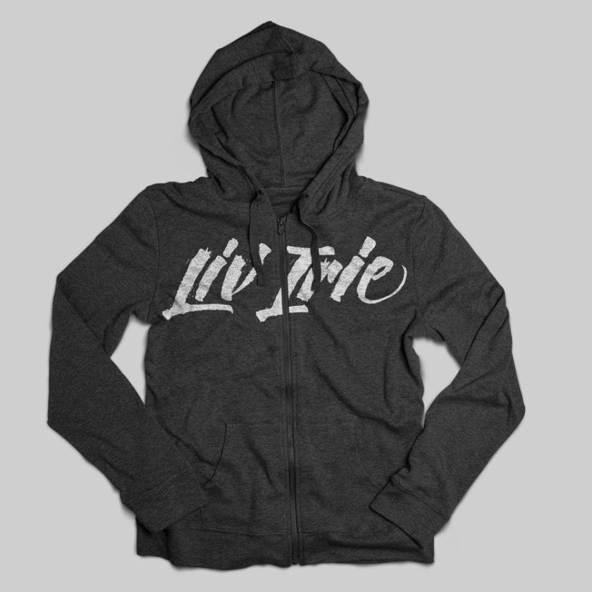 Liv Irie clothing company logo and hoodie
