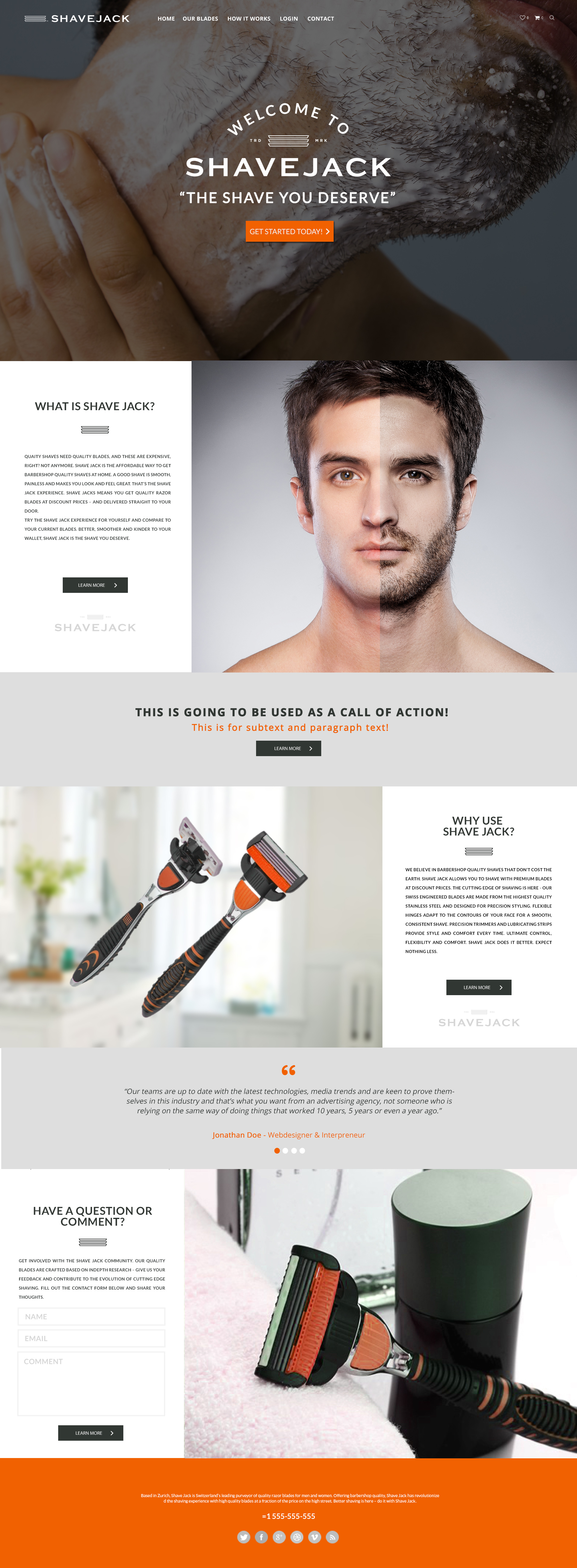 Website design for Shavejack, a monthly subscription blade service